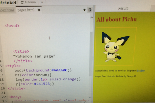 Creating a website about Pichu