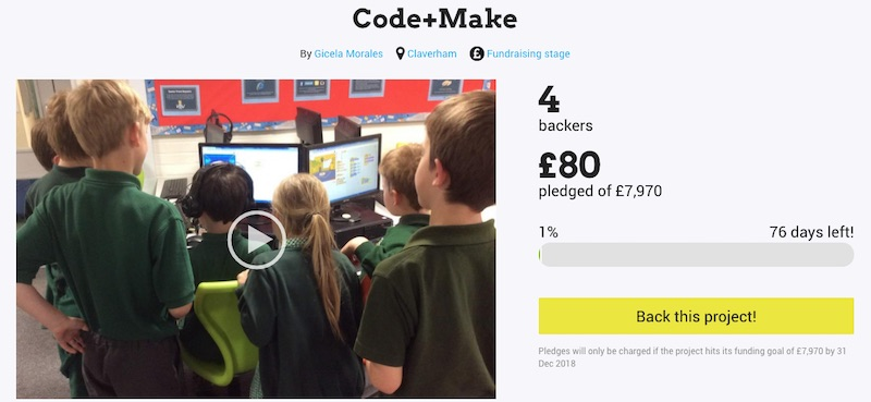 Crowdfunding campaign for digital making