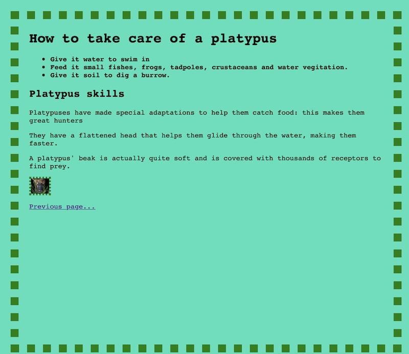 HTML page design for children